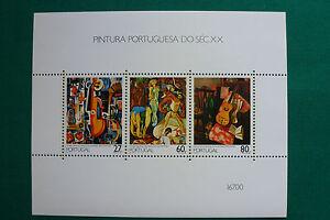 LOT-782-TIMBRES-STAMP-BLOC-FEUILLET-PEINTURE-PORTUGAISE-PORTUGAL-1988