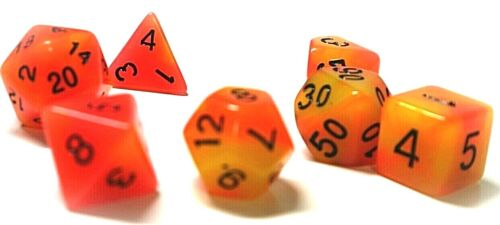 dice4friends RPG 7 Würfel Set Poly DND Tabletop glow Peach Rollenspiel orange