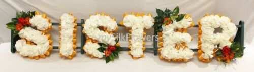 SISTER Artificial Silk Funeral Tribute Any 6 Letter Name Flower Wreath AUNTIE