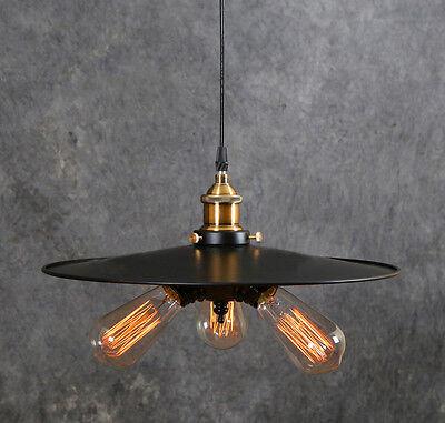 RARE Triple Vintage Industrial Edison ceiling Lamp 3 bulbs light Design Pendant