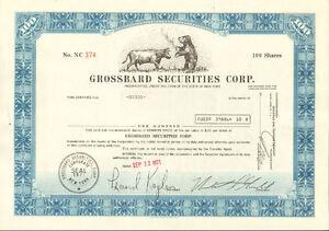Grossbard-Securities-gt-New-York-stock-certificate-gt-Wall-Street-Bull-amp-Bear-gift