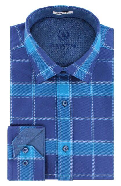 BUGATCHI Shaped Fit Long Sleeve Plaid Twill Sport Shirt NWT blue