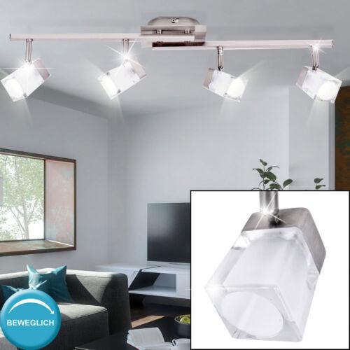 Decken Lampen Glas Würfel Spot Leuchten Wohnzimmer Chrom Wand Strahler beweglich