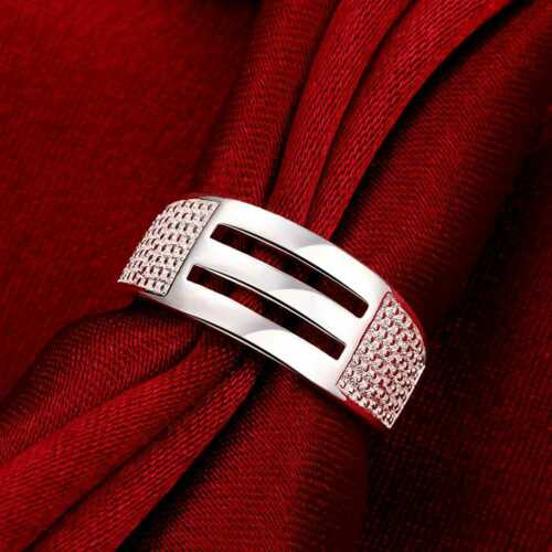 Fashion 925Sterling Solid Silver Jewelry Geometry Rings For Women R716
