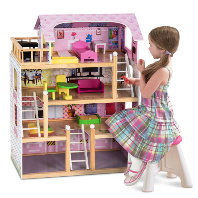 Wooden Kids 3 Y Doll House With Furniture Accessories Mansion Playhouse Toy