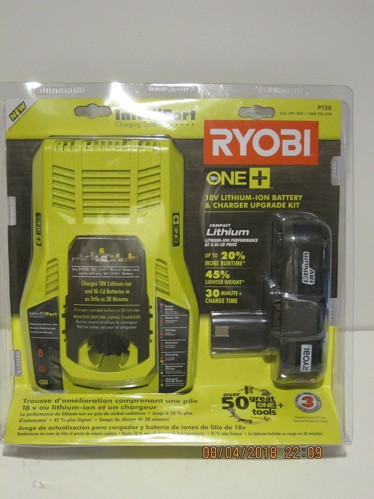 Ryobi P128 18V One+ Intelliport Li-Ion&NiCd Battery&Charger Upgrade Kit NISP FSP