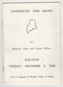 1968-MAINE-POLITICAL-CANDIDATES-League-Women-Voters-NIXON-Wallace-KYROS-Hildreth