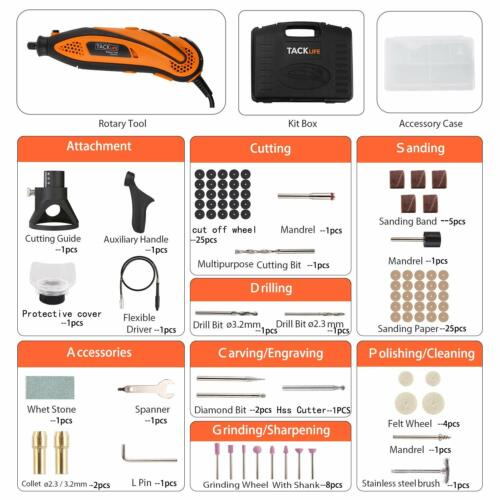 3 Attachments an 80 Accessories Rotary Tool Kit Variable Speed with Flex shaft