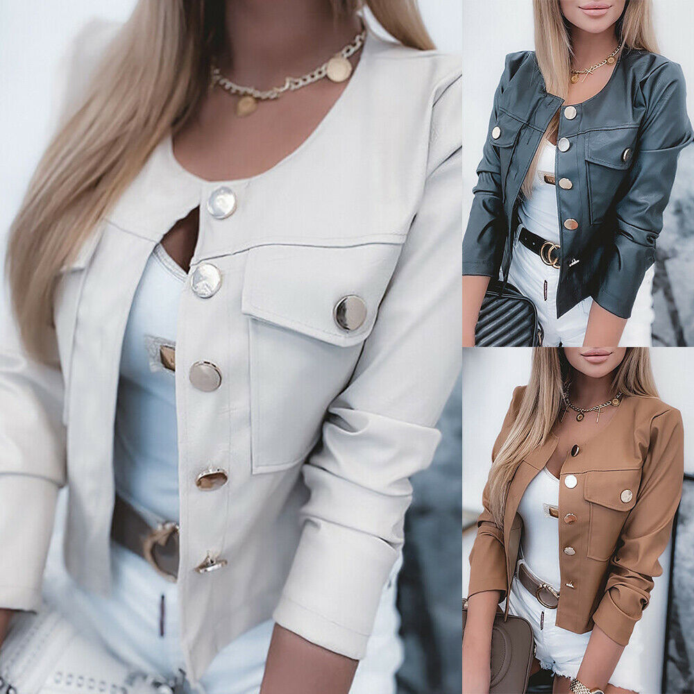 Womens PU Leather Cropped Jacket Slim Cardigan Coat Blazer Bomber Biker Outwear