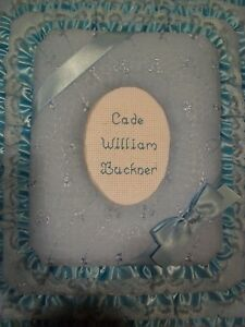 Baby Boy Blue Eyelet Personalized Fabric Photo Album Scrapbook