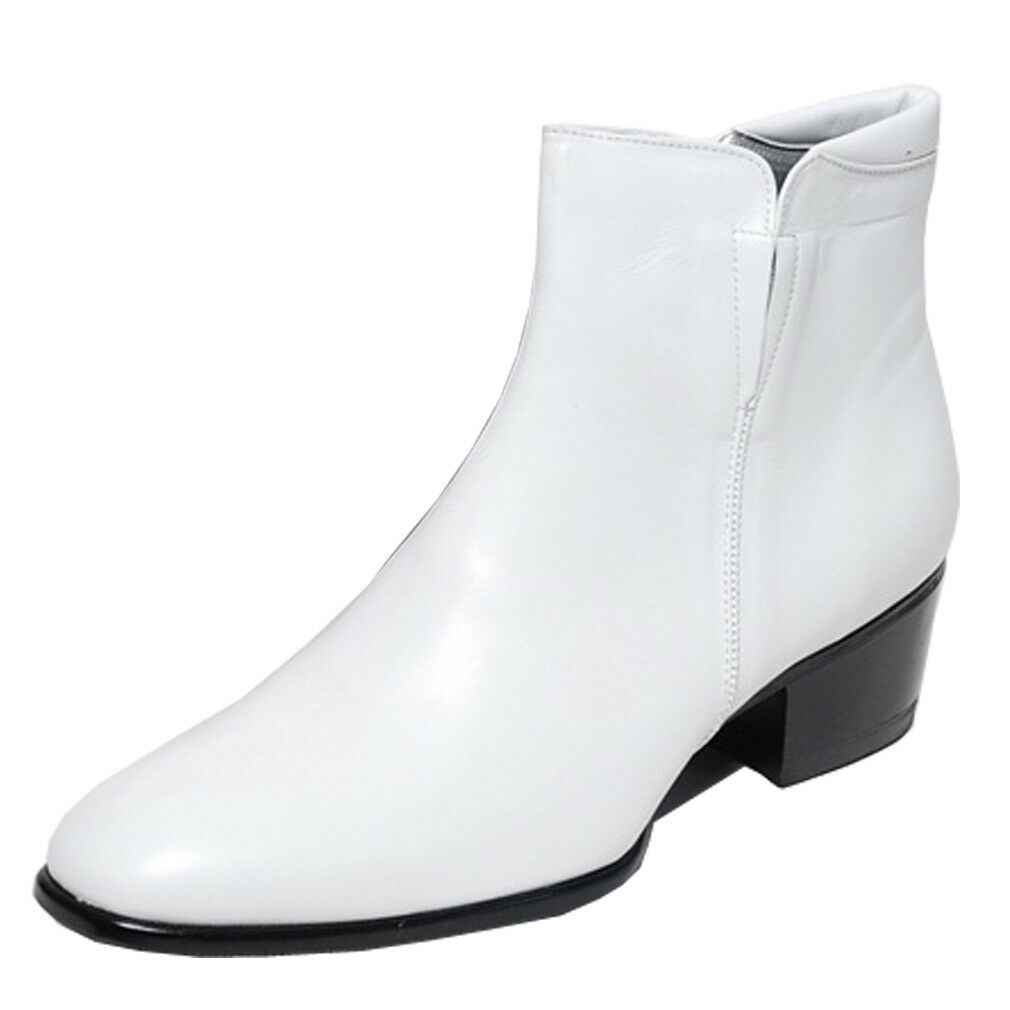 Epicsnob Zapatos para hombre Genuino Cuero Vaca Vestir Formal Informal botas al tobillo con cremallera