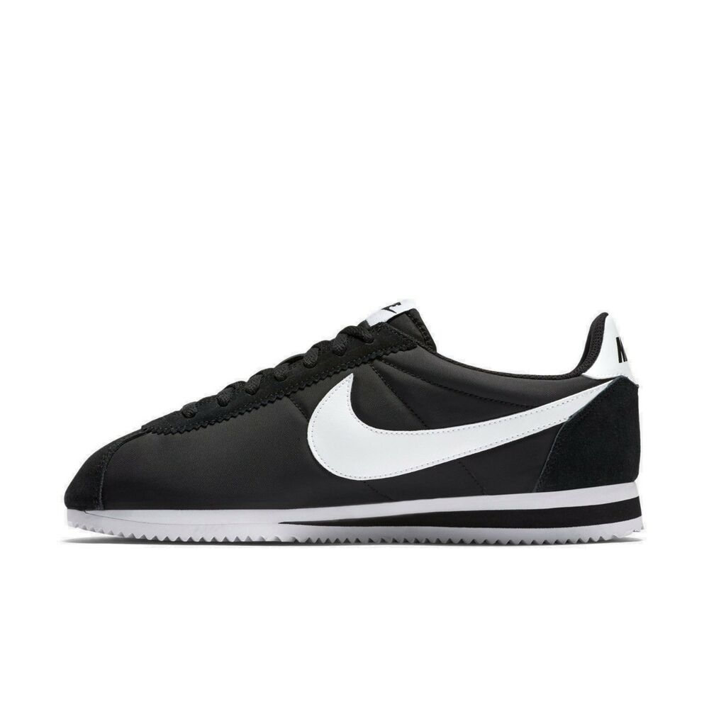NIKE CLASSIC CORTEZ Nylon Sneaker Chaussures Homme Noir Taille 10 Blanc RRP £ 80/--