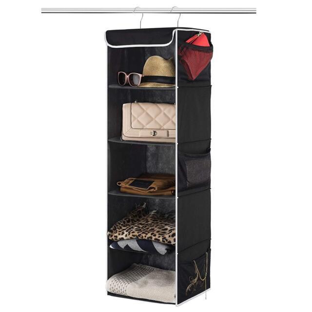 5-Shelf Hanging Closet Organizer 6 Side Mesh Pockets For Clothes Storage