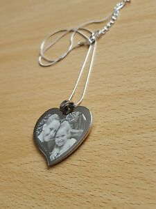 Personalised Photo//Text Engraved Heart Necklace Pendant Birthday Gift.