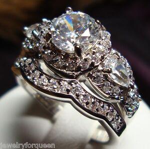 Details about Gorgeous 2pcs Vintage Style 2.31ctw CZ Engagement Wedding  Ring set 18K GP size 9