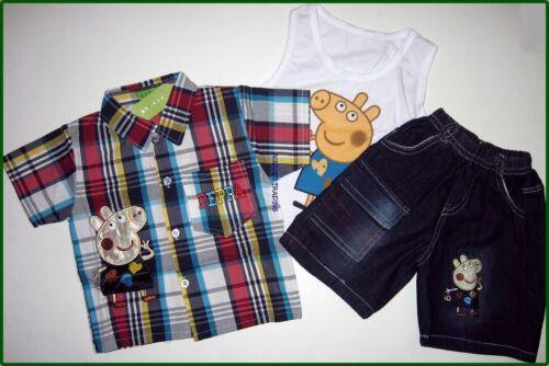 BNWT Peppa Pig George shirt top 3//4 denim pants brand new boys 3pc outfit set