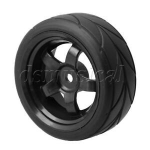 10 On-road Rally Car Plum Pattern Tyre /& 5 Hole White Wheel Rim 4PCS RC1