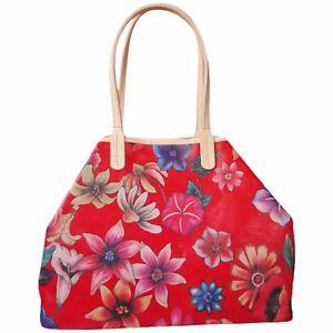 c80326df54676 Das Bild wird geladen Handtasche-Gross-Rot-Leder-Tasche-Damen-Ledertasche- Blumen-