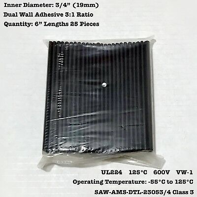 "Precut 1//4/"" ID  Black 3:1 Adhesive Lined Heat Shrink Tubing"