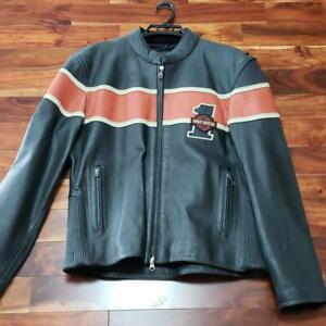 Harley-Davidson-Authentique-Veritable-Veste-Cuir-Noir-X-Orange-Taille-L-New