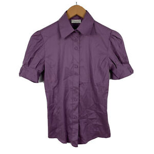 Pinko-Italy-Womens-Blouse-Size-10-Purple-Short-Sleeve-Made-In-Italy