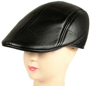 JNKET Leather Hat for Men PU Leather Ivy Gatsby Newsboy Cap Outdoor Driving Flat Hat