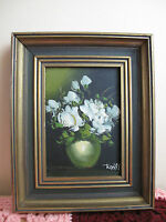 Framed Original Oil Painting on board~ Still-life~ Flower ~ Signed Rossy