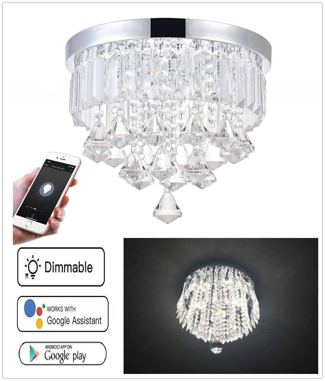 8.7  Smart WIFI Voice Remote LED Ceiling Crystal Chandelier Lamp Fixture Modern