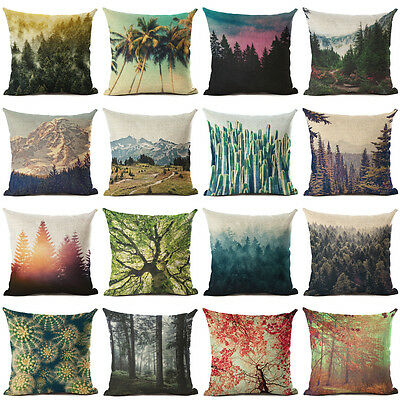 Natural Scenery Tree Forest Cushion Cover Linen Pillow Case Sofa Home Decor New