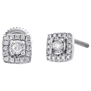 0.30Ct Created Round Diamonds 6mm Square Shape Stud Earrings 14K White Gold