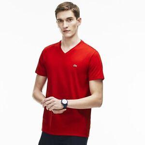 e2a69a171ad Lacoste V Neck Pima Cotton Jersey T Shirt   TH6710 51 240 Red
