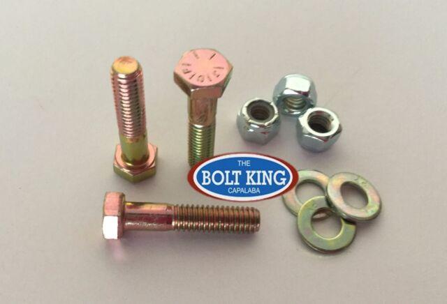3/8 x 2 UNC Hex Bolt Zinc Yellow High Tensile grade 8 Kit 10 bolt/washer/nut