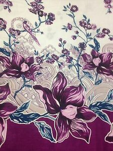 """Sheeting Fabric Floral One Side Border White Purple  100/% Cotton 94/"""" 240 Cm"""