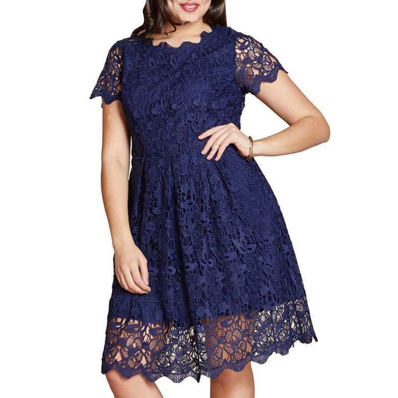BNWT YUMI NAVY GUIPURE LACE FIT & FLARE DRESS SIZE RRP