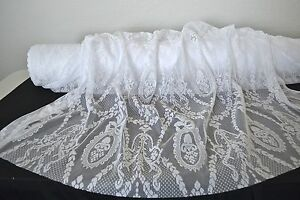 """Manor"" Curtain and Table Lace Fabric Brt White 58"" Wide 100% Poly By The Yard"