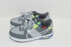 NIKE-AIR-FORCE-1-REACT-GRAY-NEON-RUNNING-CASUAL-SIZE-5-5Y-CD6960-002