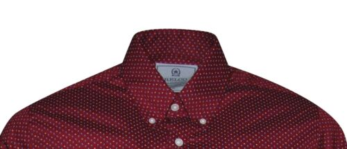 Men/'s Burgundy Pin-Dot Long Sleeved Button Down Luxury Cotton Indie Mods Shirt