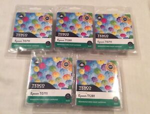 5 x Tesco's Epson Black ink cartridge T0711
