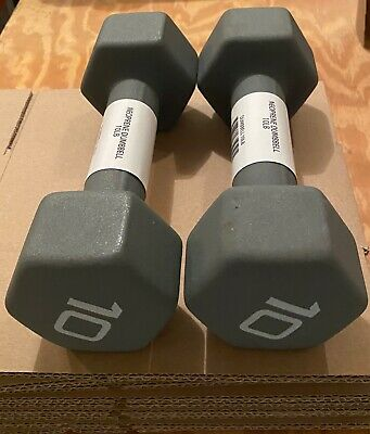 CAP Hex Neoprene 10lb Pound Pair Dumbbell Weights NEW SET OF 2