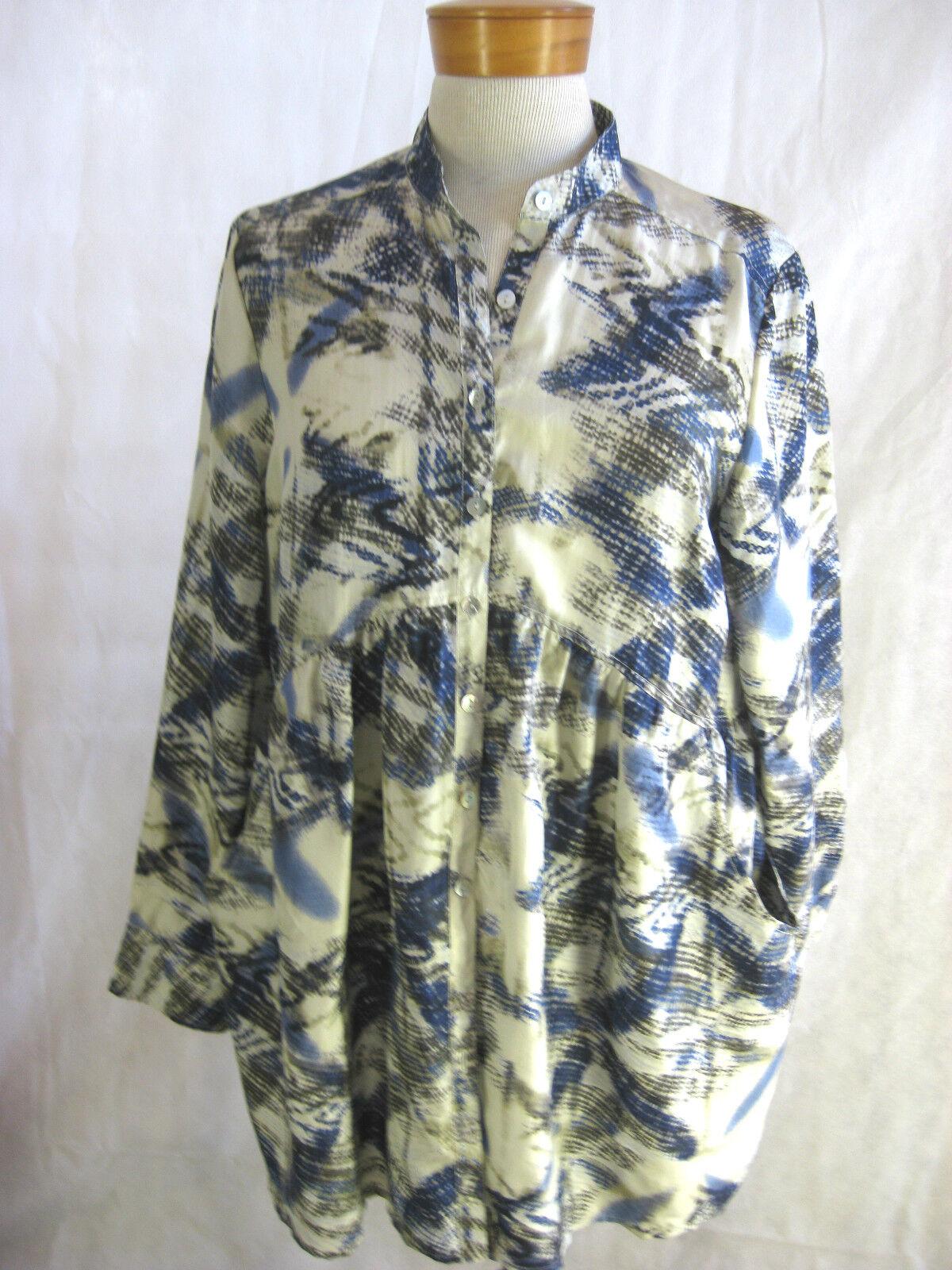 Hammock & Vine Größe 10 Crushed Print Silk Shirt Blouse NWT