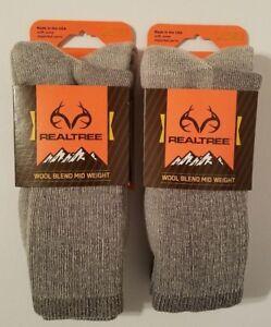 Realtree-Socks-Wool-Blend-Mid-Weight-Socks-2-Packs-Large-Free-Shipping