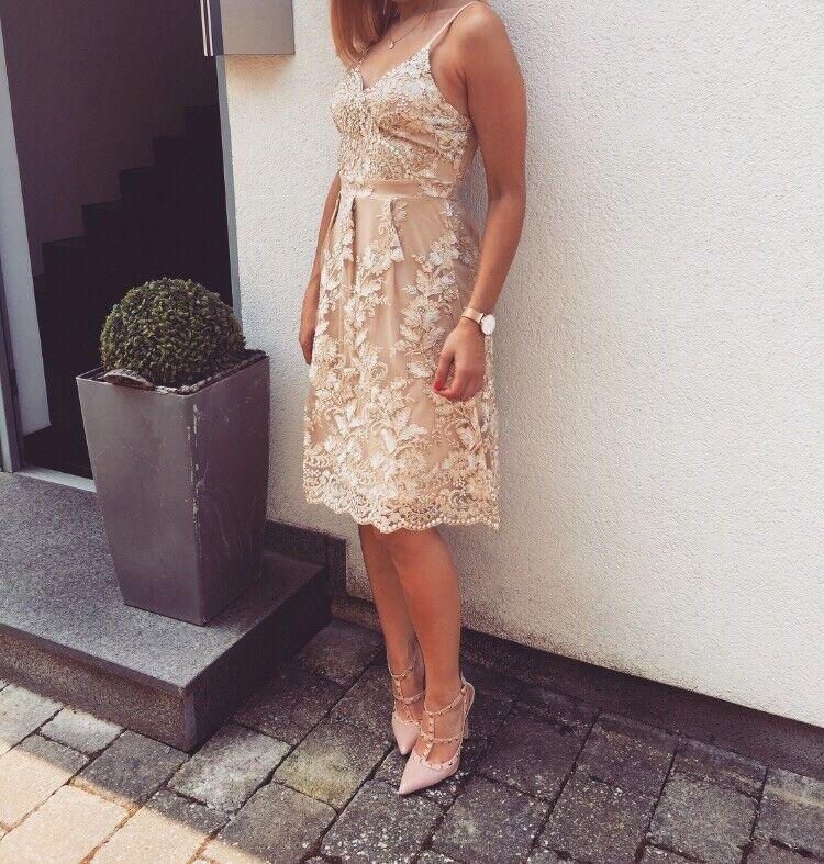 Kleid Hochzeit 36 NEU Gold Besteickt Sommer Abendkleid Perlen Geschenk A Line