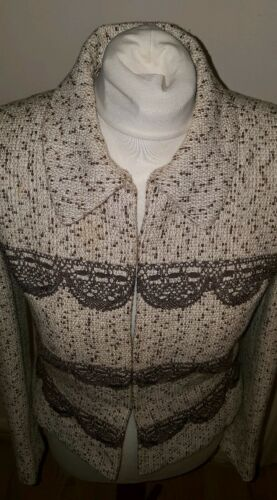 Cream Sabbadini Juanita Jacket Brown Small Ladies Size Tweed Womens 0ardx0qf