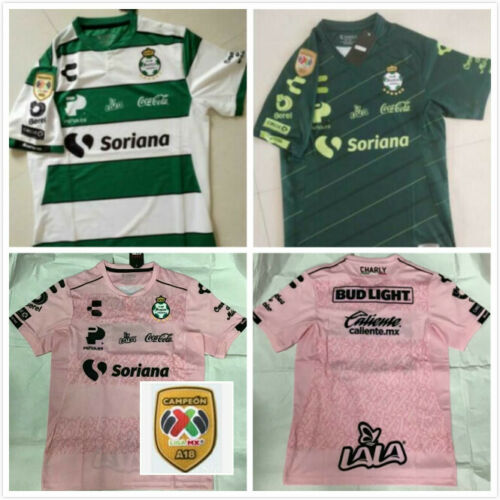 2019 Santos Laguna Home Soccer Jersey Adult Tshirt And A18 LIGA MX CAMPEON Patch