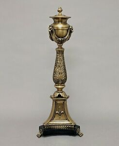 Decorative Tabletop Finial Antique Gold Finish Brass Triangle Base