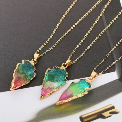 Charme Cristal Triangle Arrow origine Naturelle Pierre Collier Tour de Cou Femme Bijoux