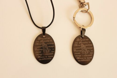 KEYRING NECKLACE /& BLACK SERENITY PRAYER CHARM AA NA AL-ANON RECOVERY 12 STEP