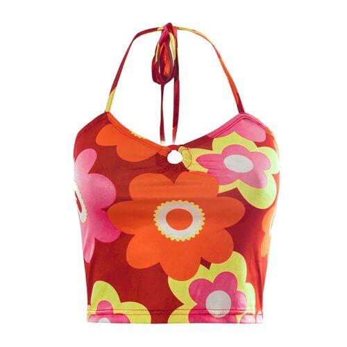 Y2k Bandage Halter Cop Top Women Floral Print Backless Cami Sleeveles Tanks Tops