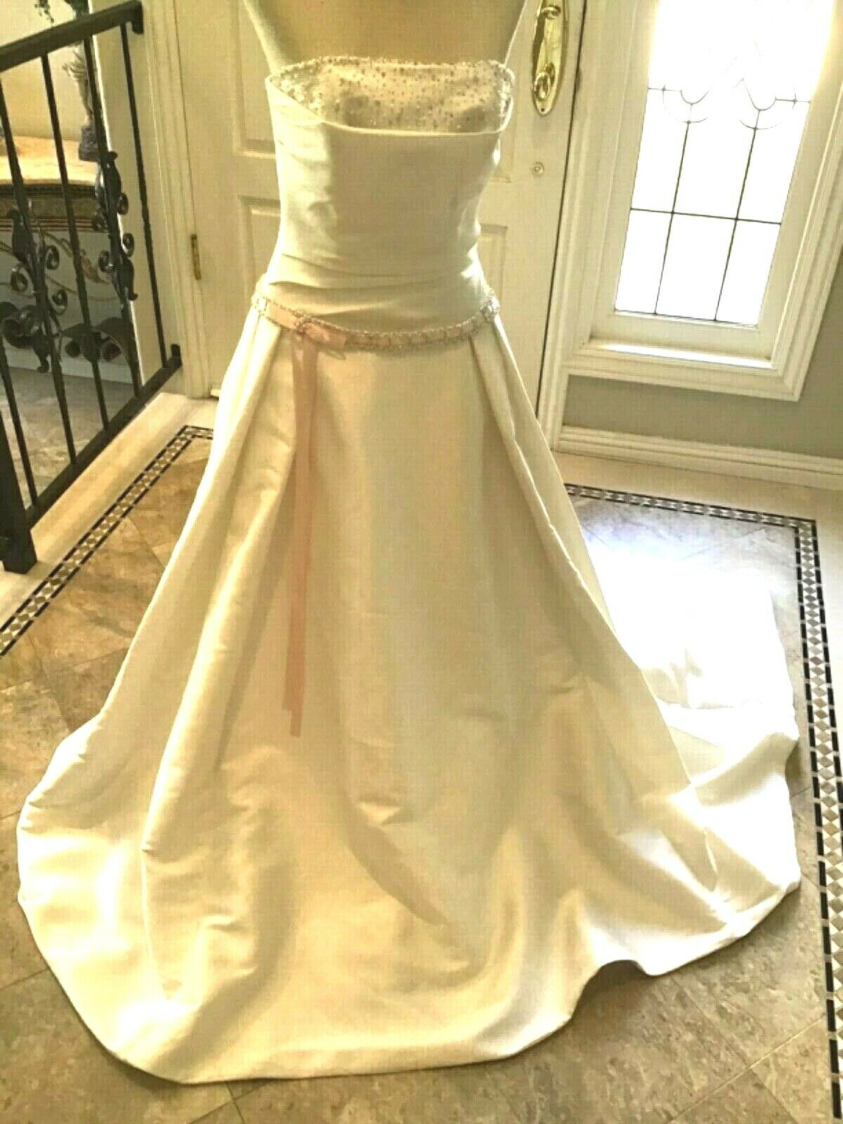 Maggie Sottero COUTURE NEW Wedding dress Bridal gown Corset lace up 8 Diamond Wh