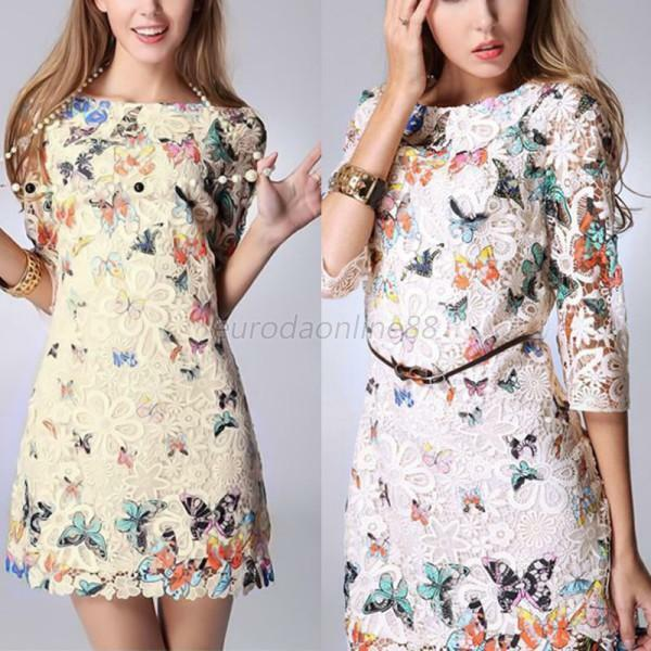 Women Embroidered 3/4 Sleeves Floral Lace Butterfly Print Party Mini Dresses A67